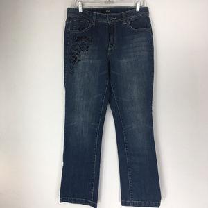 ANA 12 Medium Wash Floral Jeans